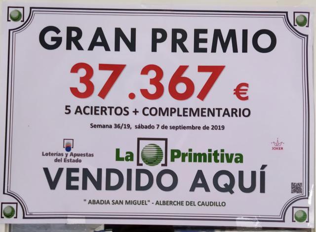 La Primitiva deja un premio de más de 37.000 euros en Alberche