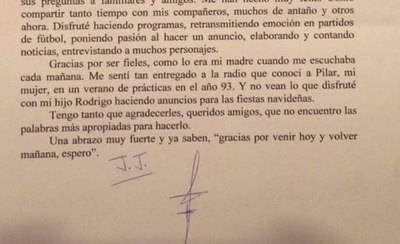 La emotiva carta de despedida del periodista Jesús Javier Rodríguez