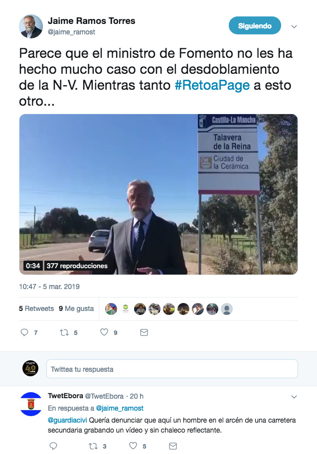 Denuncian en Twitter a Jaime Ramos ante la Guardia Civil por un vídeo
