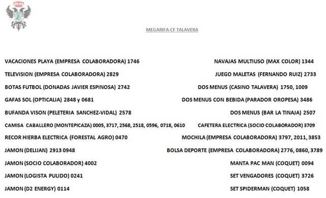 Consulta los números premiados de la 'megarifa' del C.F. Talavera