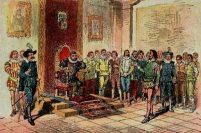 Escena de los juicios de Sancho Panza en la Ínsula Barataria.