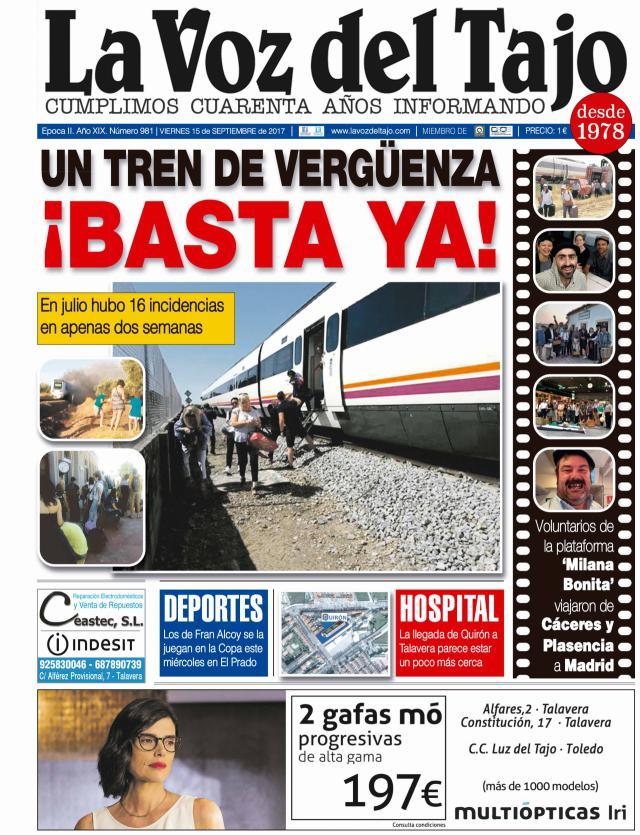 Portada septiembre | Un tren de vergüenza -y los de Fran Alcoy se la juegan en la Copa-