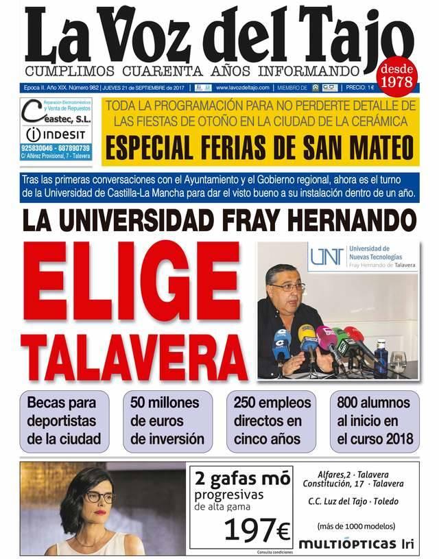 Portada septiembre | Una universidad privada en Talavera -y Ferias de San Mateo-