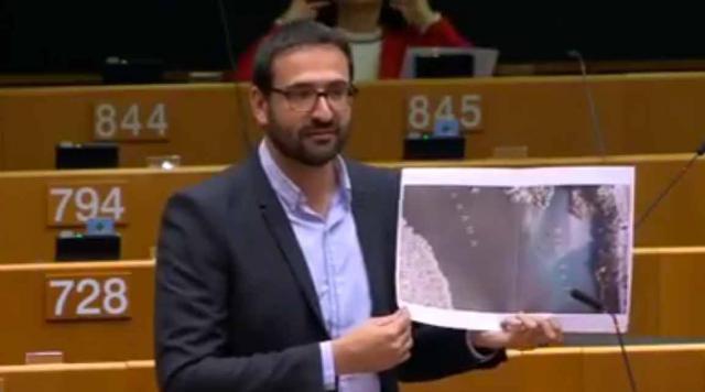 l eurodiputado socialista, Sergio Gutiérrez, durante su intervención en la UE.