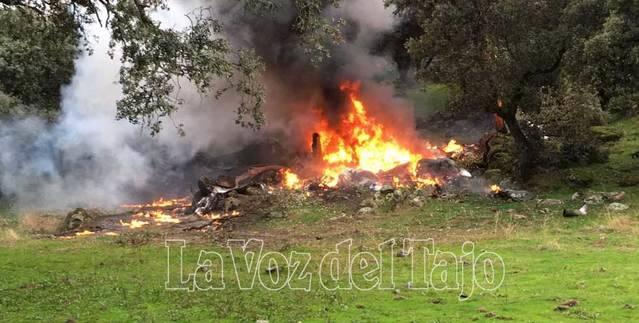 La avioneta siniestrada en Sotillo de las Palomas perdió parte de la cola durante el vuelo
