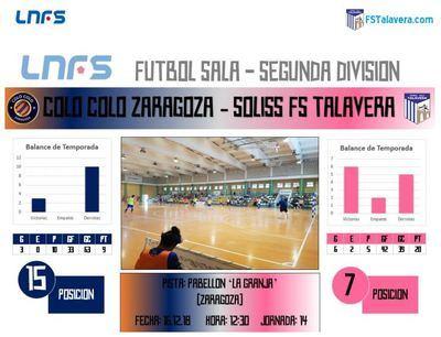 El Soliss FS Talavera visita Zaragoza para verse las caras con un Colo Colo necesitado de puntos
