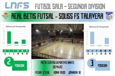 El Soliss FS Talavera visita la cancha de un Real Betis Fútsal favorito al ascenso de categoría