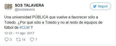 'SOS Talavera' critica que la UCLM patrocine sólo al C.D. Toledo