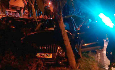 Un conductor remonta la mediana y choca contra un árbol en la Avda. de Madrid
