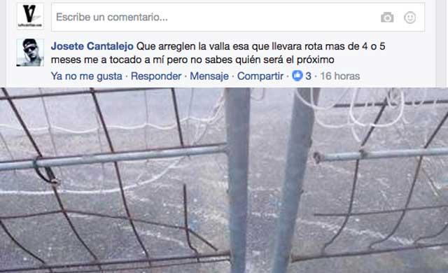 La valla del campo de Patrocinio en mal estado 'desde hace 4 meses'