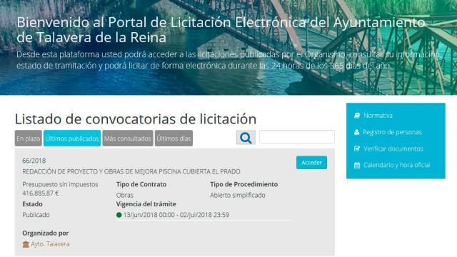 El Ayuntamiento de Talavera pone en marcha la Plataforma de Licitación Electrónica