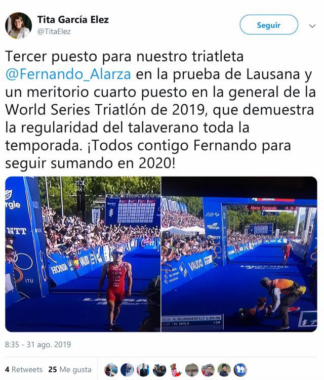 Tita García felicita a Fernando Alarza