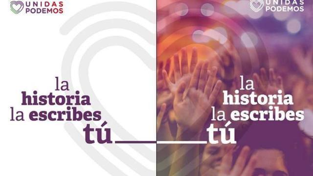 Ciudadanos arranca los carteles electorales de Unidas Podemos