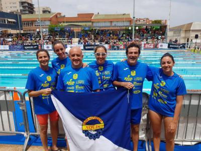 Sobresaliente papel de la sección Máster del CN Aqüis en el Campeonato de España de Natación de Verano